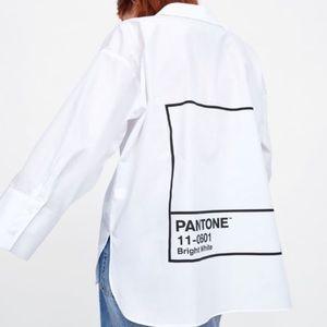 NWT Zara Pantone Oversized White Button Do…
